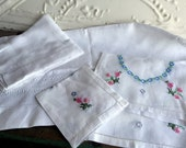 Vintage Lot White Irish Linen DAMASK Runners Deer scene Embroidery floral set