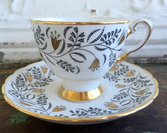 Vintage Teacup Tea Cup and Saucer Black and Gold flowers English Bone China