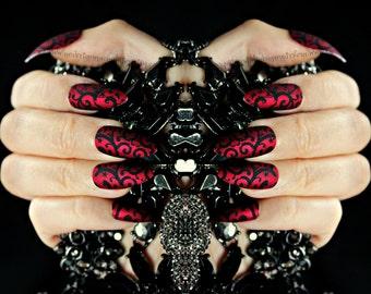 Red Matte Stiletto Fake Nails, Stiletto Fake Nail, Gothic Fake Nail, False Nail Set, Gothic, Pointy Nail, Acrylic Nail, Fake Nail, Swirly