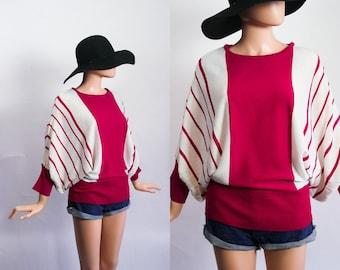 Vintage Batwing Sweater / Slouchy Striped Knit Top / 80s Dolman Sleeve Jumper / 1980s Avant Garde / Magenta Pink + White Stripes / Open Fit