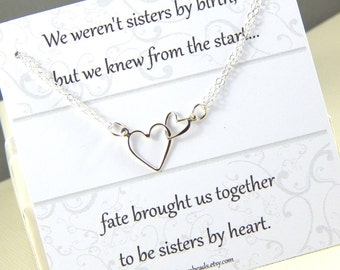 Friendship Necklace, Best Friends Interlocking Heart Necklace, Sisters Necklace, Best Friend Gift