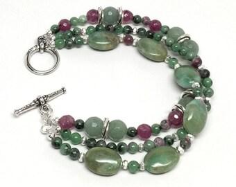 Green Bracelet, Green and Pink Bracelet, Multistrand Green Bracelet, Green and Silver Bracelet, Sage Green Bracelet