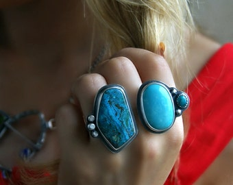 RESERVED - Both Sides of Heaven - Chrysocolla and Turquoise Sterling Silver Ring