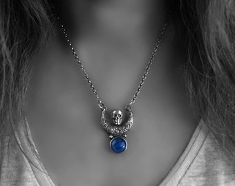 SALE - Falling Night - Kyanite Sterling Silver Moon Necklace