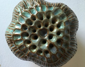 Turquoise Red Clay Seed Pod Ceramic Ornamental Rattle 2