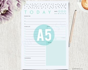 A5 Planner Printable - A5 Daily Planner, A5 Planner, A5 Daily Planner, A5 Planner Insert, A5 Planner Pages, To do list, A5 Filofax