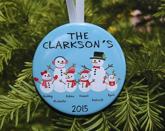 Snowman Family Christmas Ornament  - customized with names and year - up to 6 snow people - C076