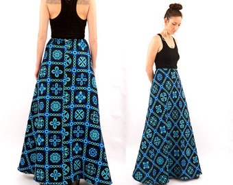 vintage 60s black + blue TAPESTRY maxi skirt S-M