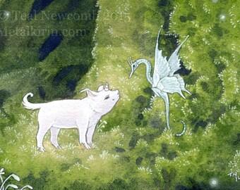 """Limited Edition Archival ACEO Print """"Piggiecorn"""" unicorn pig fantasy dragon art"""