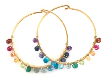 Large Rainbow Gemstone Gold Hoop Earrings. Hand Hammered Large Round 14k Gold Filled Multi Gemstone Hoops.