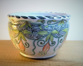 clearance sale - Majolica hand painted ceramic bowl - pottery flower pot - vines and flowers - Mom is imprinted on one side
