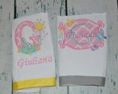Personalized Burp Cloth Princess  Set of 2