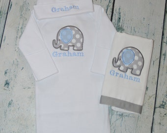 Personalized Elephant Infant Gown Burp Cloth and Cap Set Layette Baby Gift