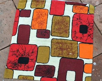 Mid Century Mod Pillow Cover - Atomic Ranch - Retro Pillow - Red Rust Gold Orange - Retro Nursery - Retro Decor - Cool Mod Graphic Pillow