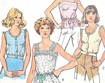 1970s Simplicity 6464 Sleevless Shirts Summer Tank Tops Drawstring waist or short waist camisole tops Vintage Sewing Pattern Bust 34