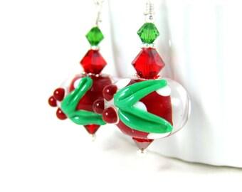 Christmas Earrings, Red White Polka Dot Earrings, Holiday Jewelry, Holly Earrings, Lampwork Earrings, Holiday Earrings Gift for Her Under 25