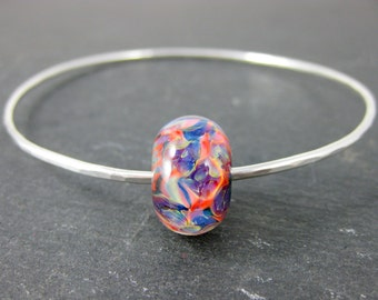 Hammered Silver Bracelet Orange Pink Purple Blue Glass Bracelet, Sterling Silver Stacking Bangle Bracelet Simple Bracelet Minimalist Jewelry