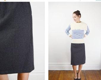 Grey 1960s Heavy Wool Pencil Skirt - XS/S