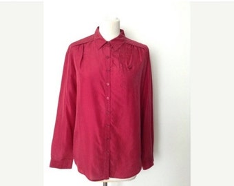 SUMMER SALE French vintage 1980s burgundy red silk shirt - small medium large S M L