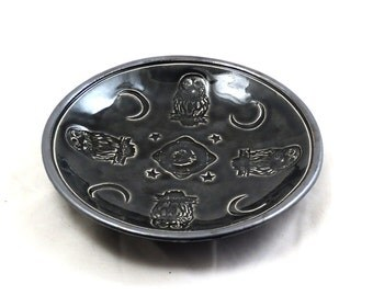 Pottery OWL MOON Bowl in Black and Silver