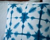 Blue Shibori Pillow - Indigo Decor - Blue White Pillow - Pillow Cover Blue - snowflake inspried
