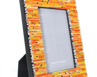 colorful YELLOW & ORANGE 5X7 picture frame - made from recycled magazines,sunshine, bright, colorful,unique gift,home decor, interior design