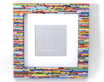 colorful 8x8 picture frame - made from recycled magazines, blue, green, red, purple, pink, yellow, orange