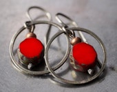 Small sassy sterling silver hoop and red Czech glass beaded earrings