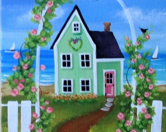 "Keepsake Cottage 5"" x 7"" Original Folk Art Painting"