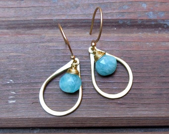 Sundrop - Amazonite Earrings - Semi Precious Stone and Brass Teardrop Earrings - Bridal Jewelry Set - Blue Earrings