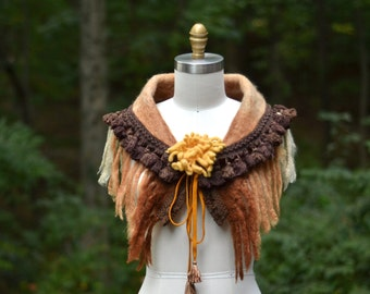 Earthy tones Capelet Stole Shrug with felted flower, fringes and tassels/ boho one of a kind accessory