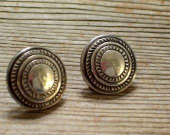 Southwestern Tribal Earrings, Vintage Southwest Earrings, Silver Tribal Earrings, Vintage Screwback Earrings, Native Southwest Jewelry