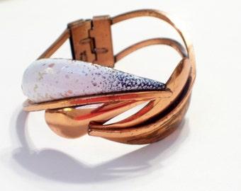 Matisse Bracelet, Vintage MATISSE RENOIR Leaflet Bracelet, Copper Enamel Leaf Hinged Bangle Bracelet, Fall Jewelry