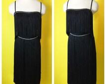 Vintage 1960s Long FRINGE  Rhinestone Cocktail Wiggle Dress Busty Beauty