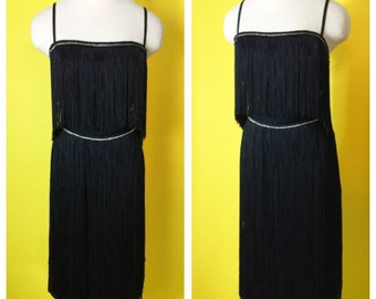 Vintage 1960s Long FRINGE  Rhinestone Cocktail Wiggle Dress Busty Beauty