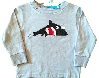 mi cielo x Matthew Langille - Shark & Fish – Blue Toddler Longsleeve T-Shirt  – Boys or Girls