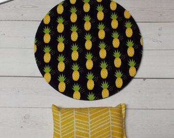 pineapple mouse pad - mousepad - mat - wrist rest set - yellow herringbone black - coworker, dorm, friend, cubicle gift decor  accessories
