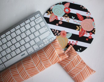 black white stripes gold metallic flowers mouse pad Keyboard rest and or WRIST REST MousePad set coral orange herringbone Desk Accessories