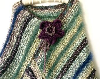 Knit poncho, Boho poncho, Gypsy hippie poncho, Cape poncho, Fall poncho, Fall fashion trend, Knit trend, Stripe poncho, Warm poncho, Gifts