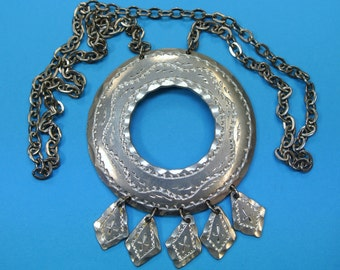 Signed vintage 1980s swedish handcrafted round pewter pendant necklace with 5 small hanging charms
