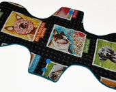 Super Hemp Core- Dog Portraits Reusable Cloth Goddess L Pad- WindPro Fleece- 14.5 Inches