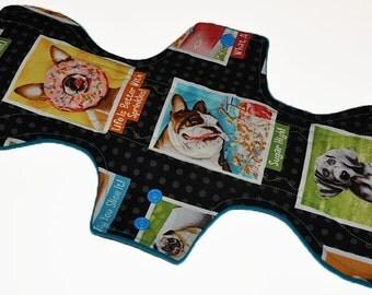 Super Hemp Core- Dog Portraits Reusable Cloth Goddess L Pad- WindPro Fleece- 14.5 Inches