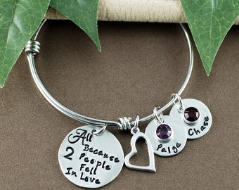 All Because Two People Fell in Love Bracelet, Personalized Name Bangle Bracelet, Adjustable Bangles, Anniversary bangle Braceclet