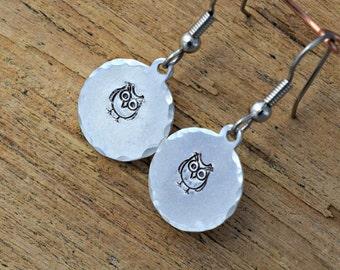 Owl Earrings - Metal stamped Jewelry - Hand Stamped Jewelry - Metal Stamped - Owls