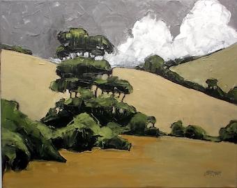 Impressionist Painting California HILLS & EUCALYPTUS Art Lynne French Landscape 16x20
