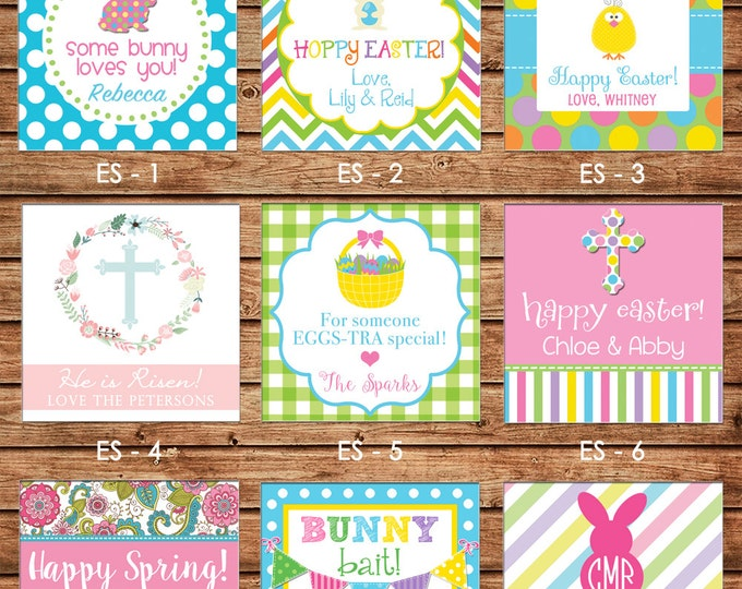 24 Square Personalized Girl Boy Easter Spring Enclosure Cards OR Gift Stickers - Choose ONE DESIGN
