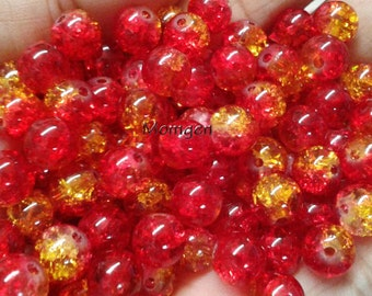 8mm red yellow crackle Glass Beads, red Beads, yellow Beads, 8mm crackle beads, crackle glass  beads  - 20pcs