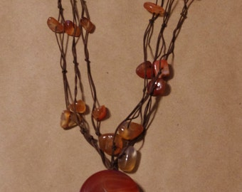 Vintage Handmade Toffee Brown Stone Necklace Pendant