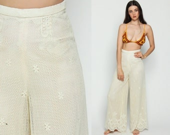Lace Pants Bell Bottom Pants 70s White Crochet Boho Trousers High Waisted Bellbottom Festival Wide Leg 1970s Vintage Bohemian Extra Small xs