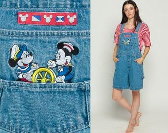 Disney Overalls Denim Overall MICKEY MOUSE Minnie Shortalls Sailor Short Cartoon Romper 90s Grunge Jean Blue Woman Vintage Medium